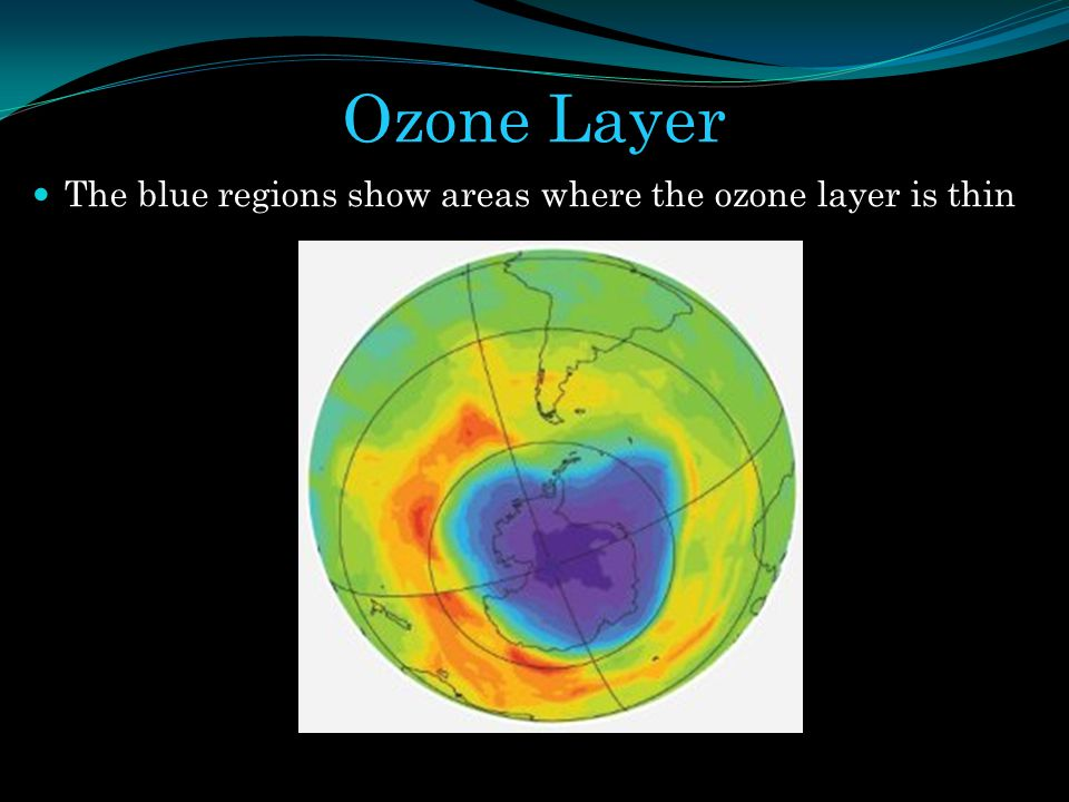 Ozone Layer The blue regions show areas where the ozone layer is thin