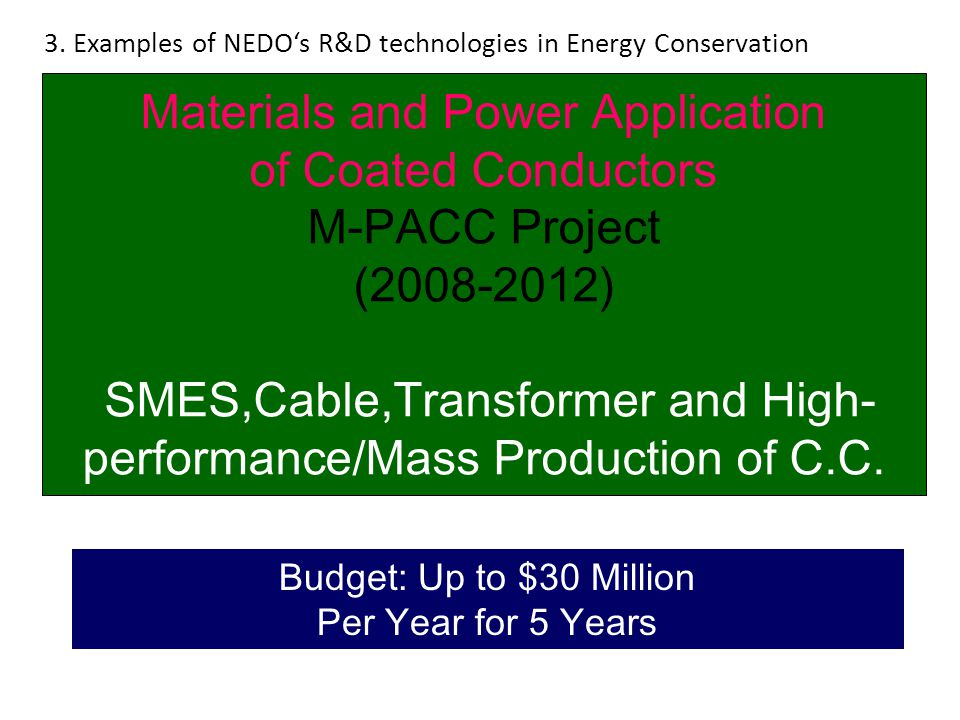 3. Examples of NEDO's R&D technologies in Energy Conservation