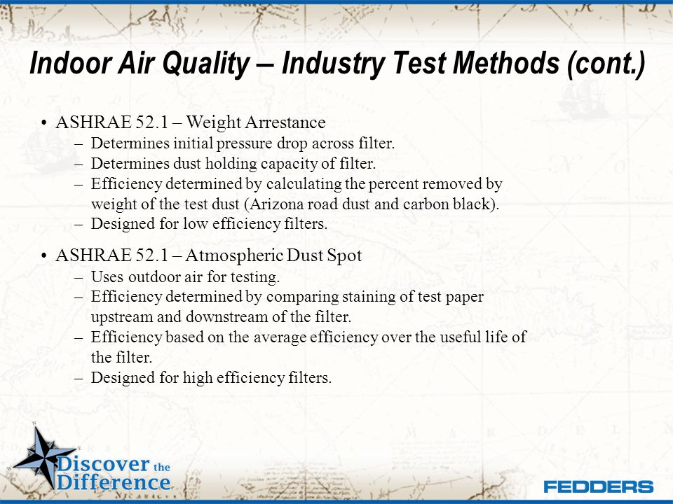 Indoor Air Quality – Industry Test Methods (cont.)