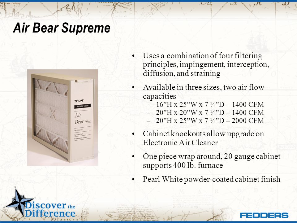 Air Bear Supreme Uses a combination of four filtering principles, impingement, interception, diffusion, and straining.