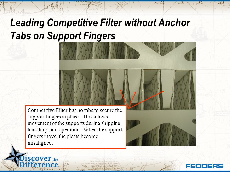 Leading Competitive Filter without Anchor Tabs on Support Fingers