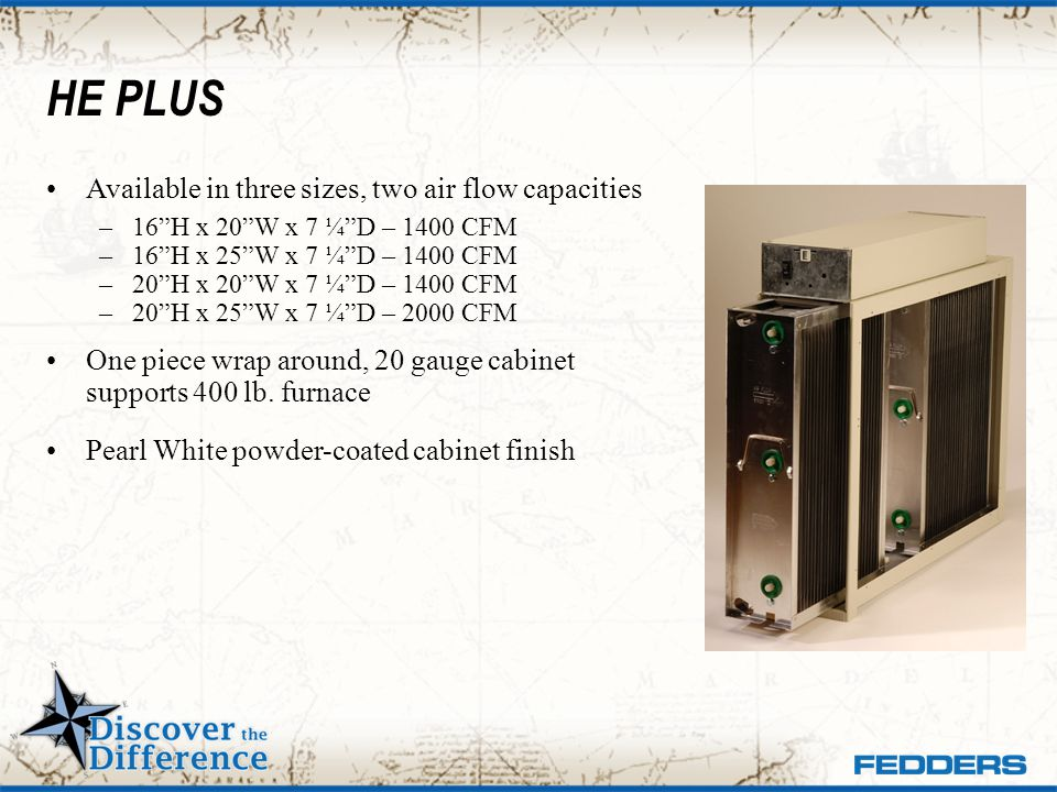 HE PLUS Available in three sizes, two air flow capacities