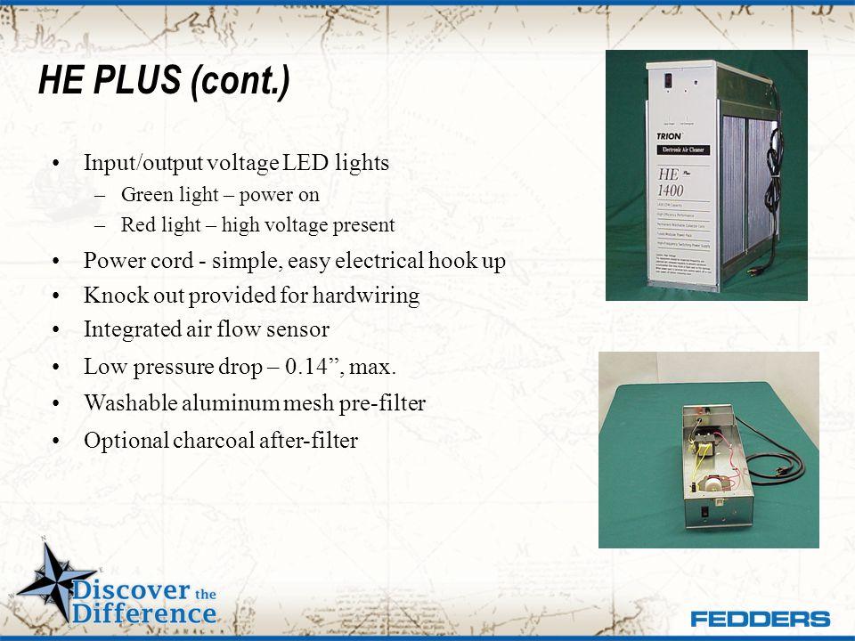 HE PLUS (cont.) Input/output voltage LED lights
