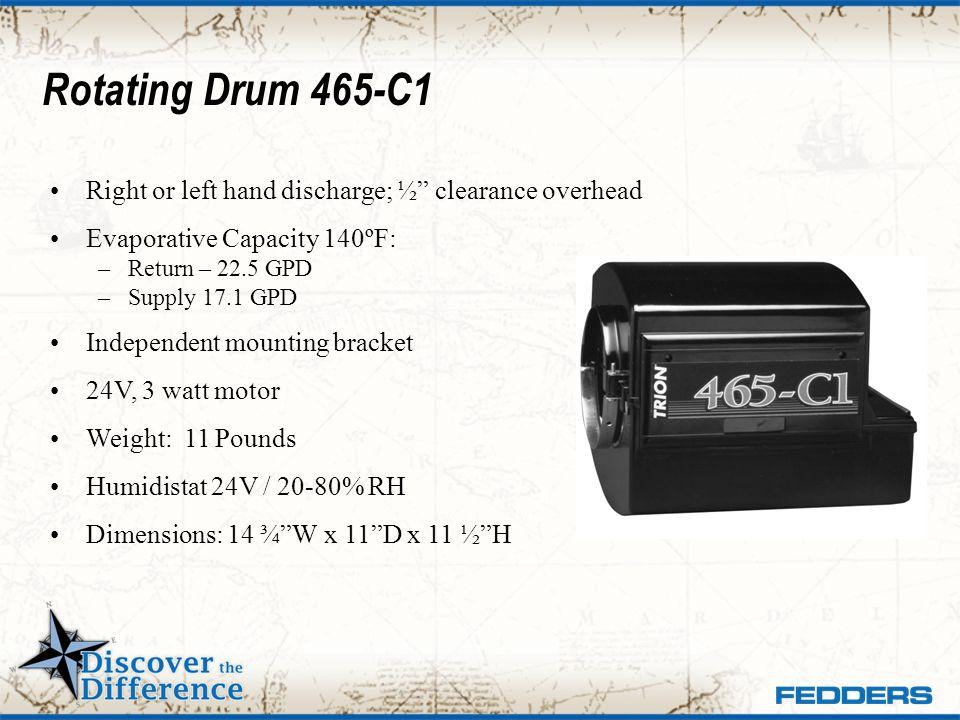 Rotating Drum 465-C1 Right or left hand discharge; ½ clearance overhead. Evaporative Capacity 140ºF: