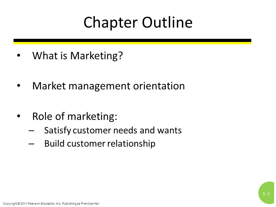 Chapter Outline What is Marketing Market management orientation
