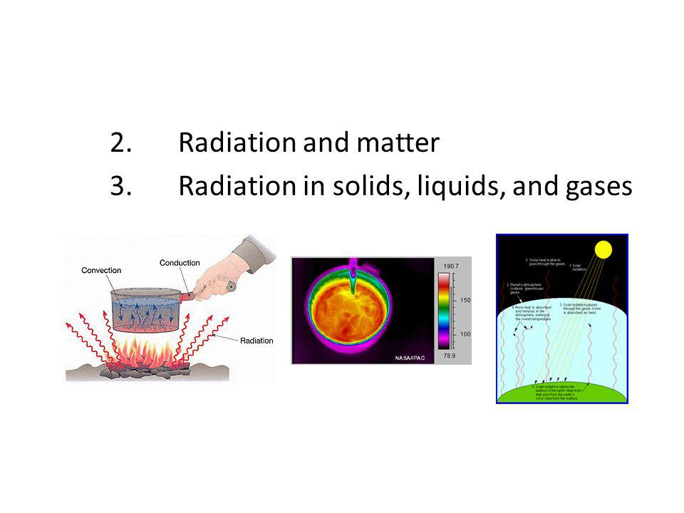 2. Radiation and matter 3. Radiation in solids, liquids, and gases