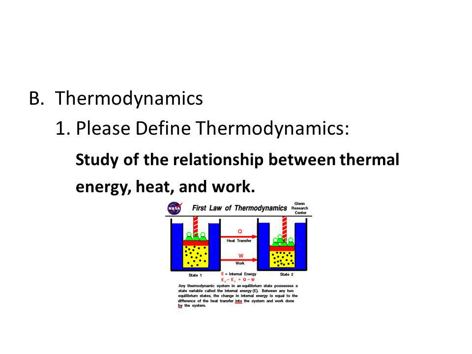 1. Please Define Thermodynamics: