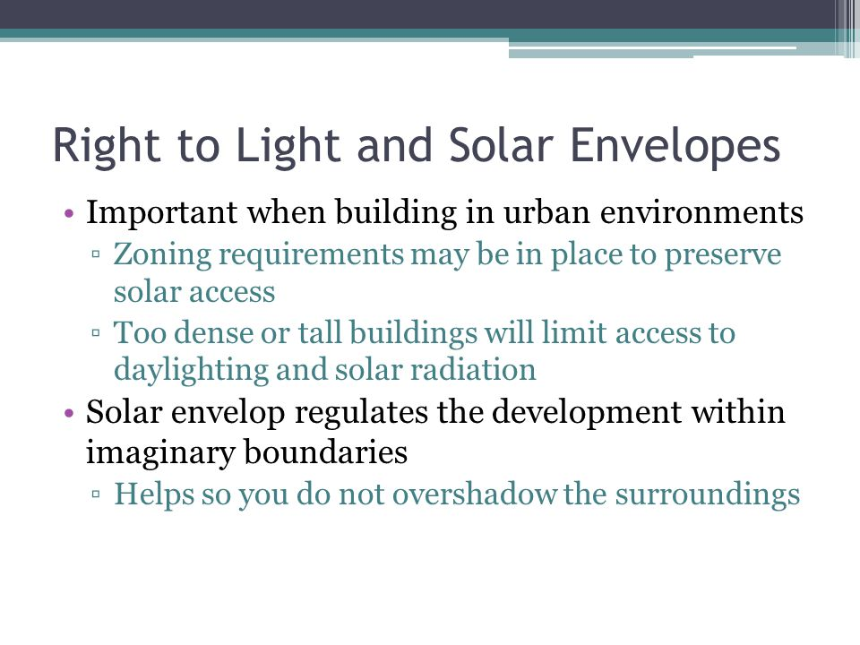 Right to Light and Solar Envelopes