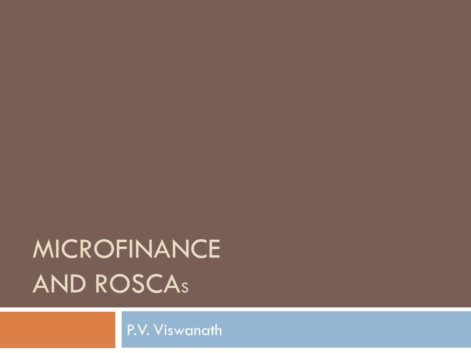 microfinance and ROSCAs