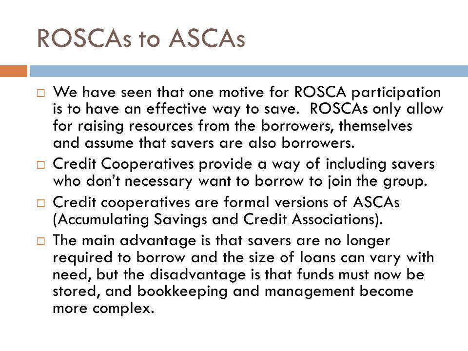 ROSCAs to ASCAs
