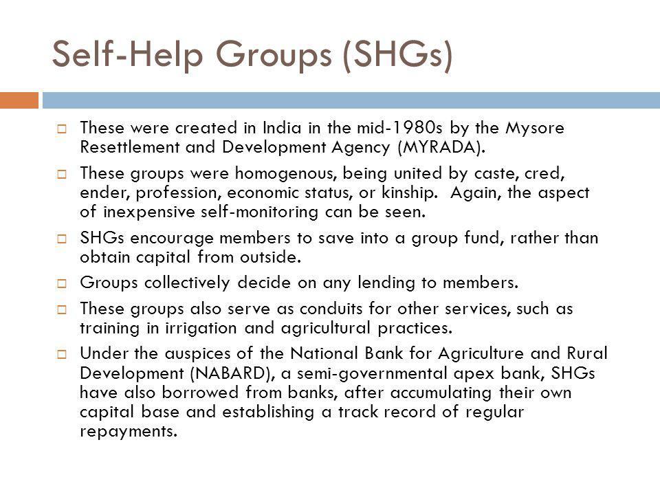Self-Help Groups (SHGs)