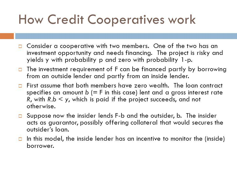 How Credit Cooperatives work