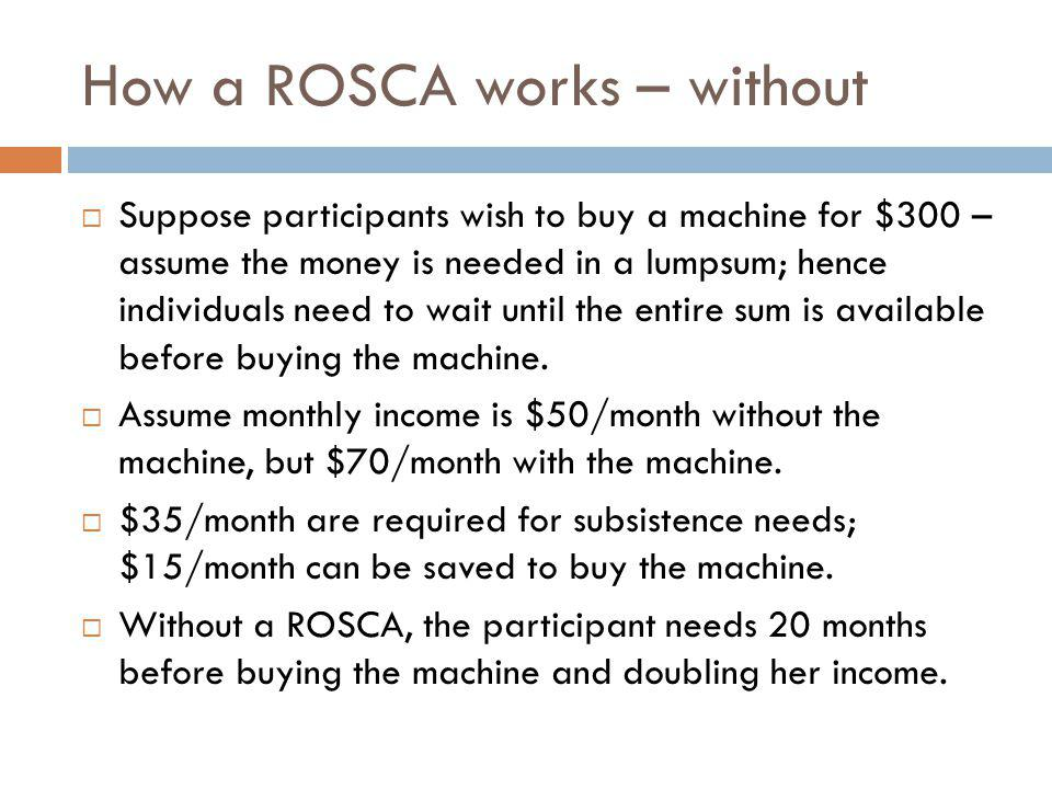 How a ROSCA works – without