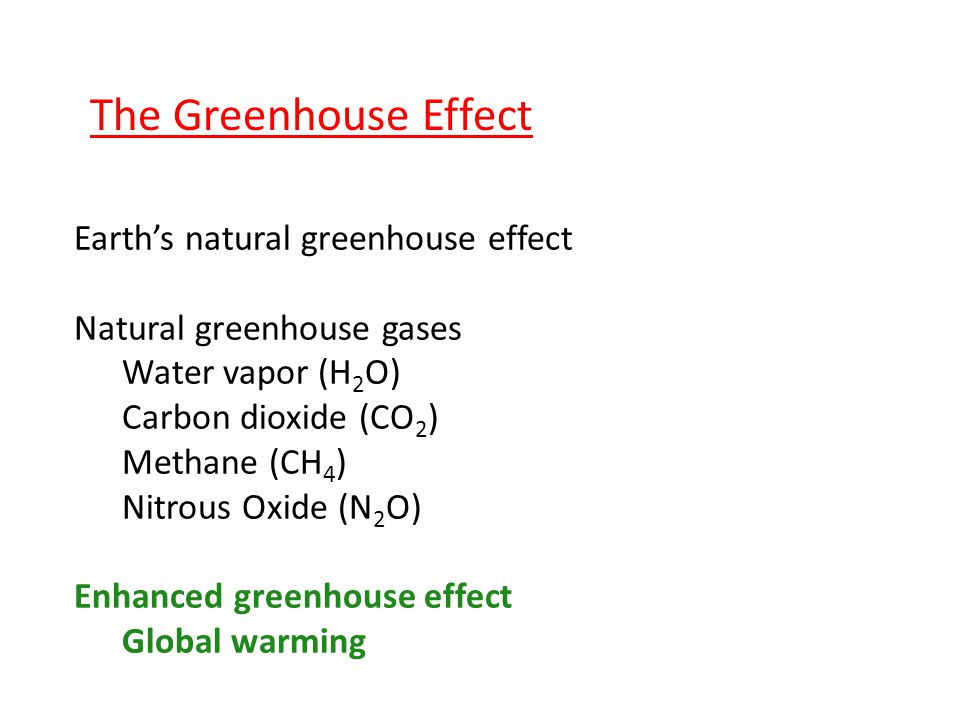 The Greenhouse Effect Earth's natural greenhouse effect