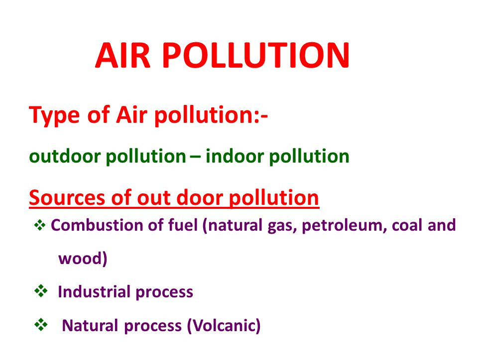 AIR POLLUTION Type of Air pollution:- Sources of out door pollution