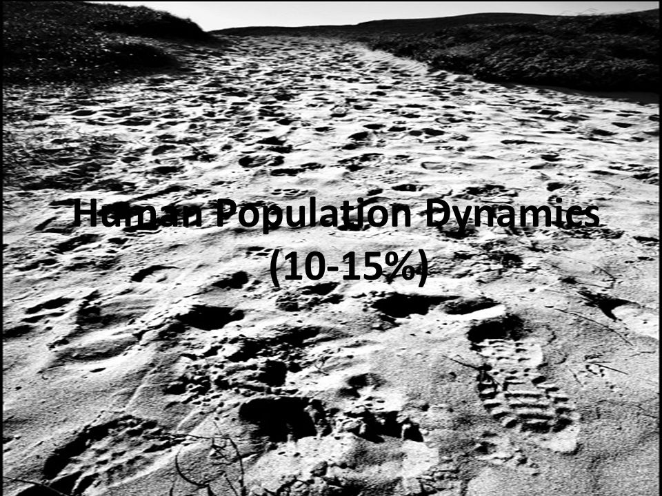 Human Population Dynamics (10-15%)