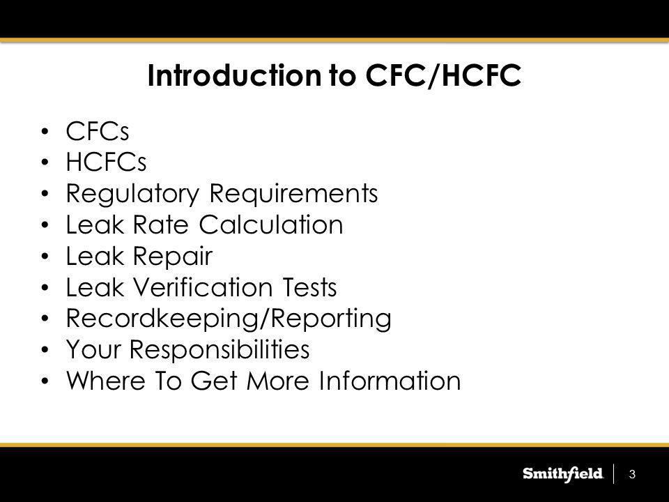 Introduction to CFC/HCFC