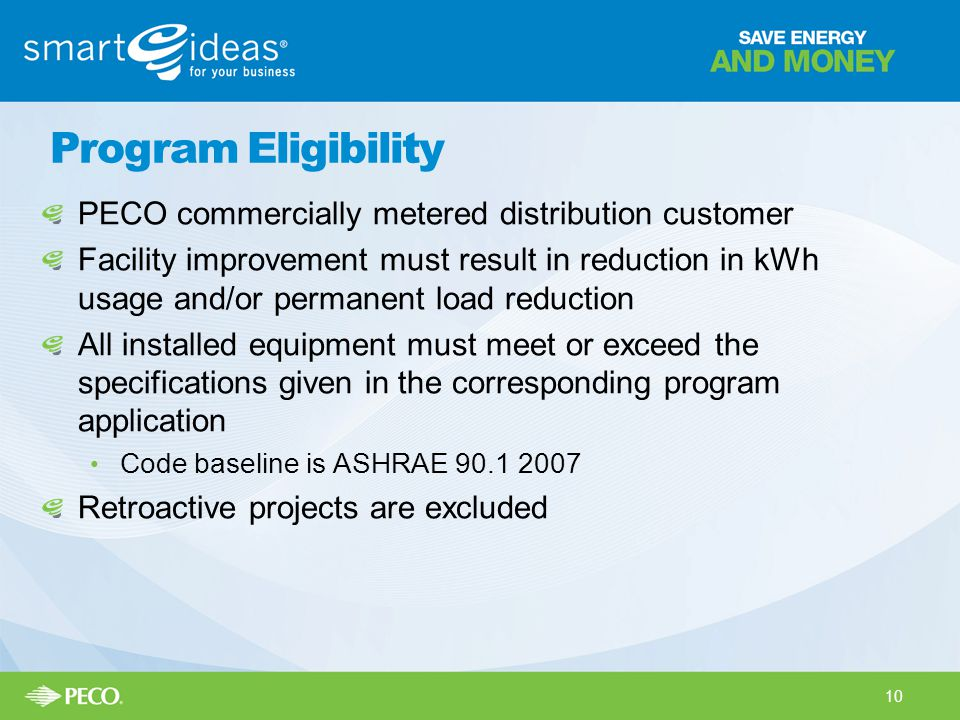 Program Eligibility PECO commercially metered distribution customer