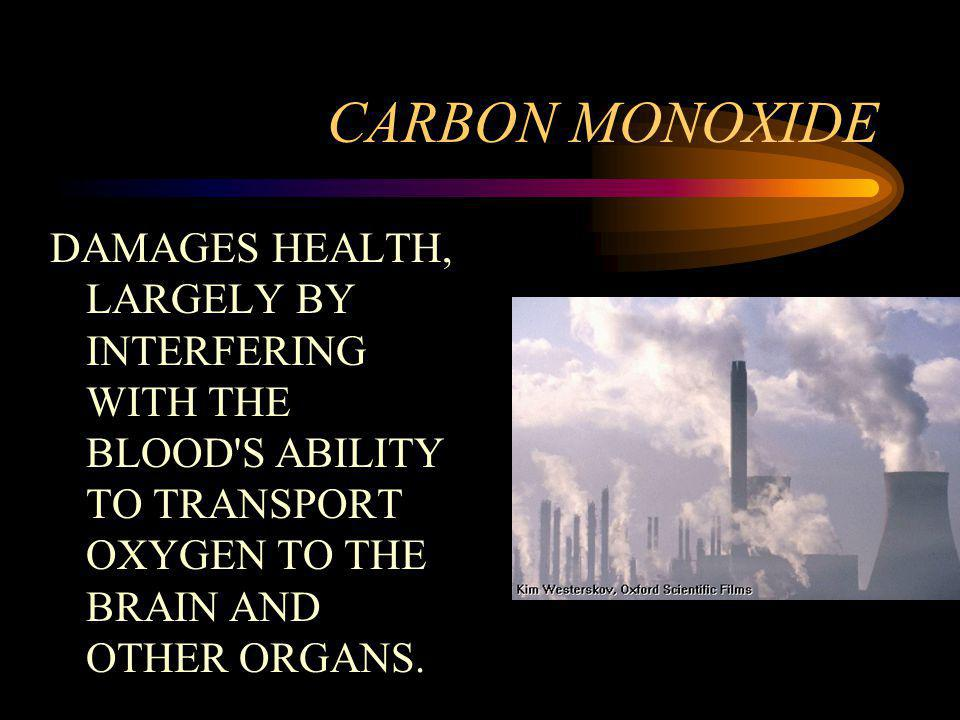 CARBON MONOXIDE DAMAGES HEALTH, LARGELY BY INTERFERING WITH THE BLOOD S ABILITY TO TRANSPORT OXYGEN TO THE BRAIN AND OTHER ORGANS.