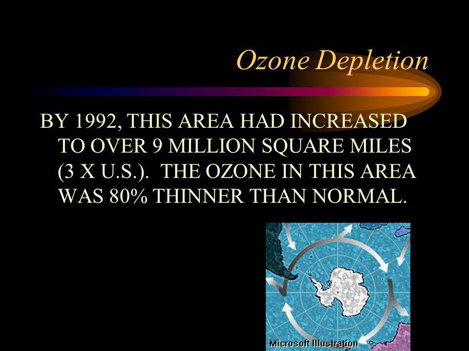 Ozone Depletion BY 1992, THIS AREA HAD INCREASED TO OVER 9 MILLION SQUARE MILES (3 X U.S.).