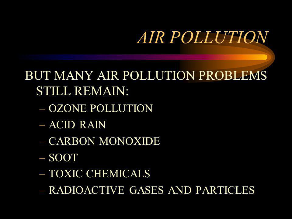 AIR POLLUTION BUT MANY AIR POLLUTION PROBLEMS STILL REMAIN: