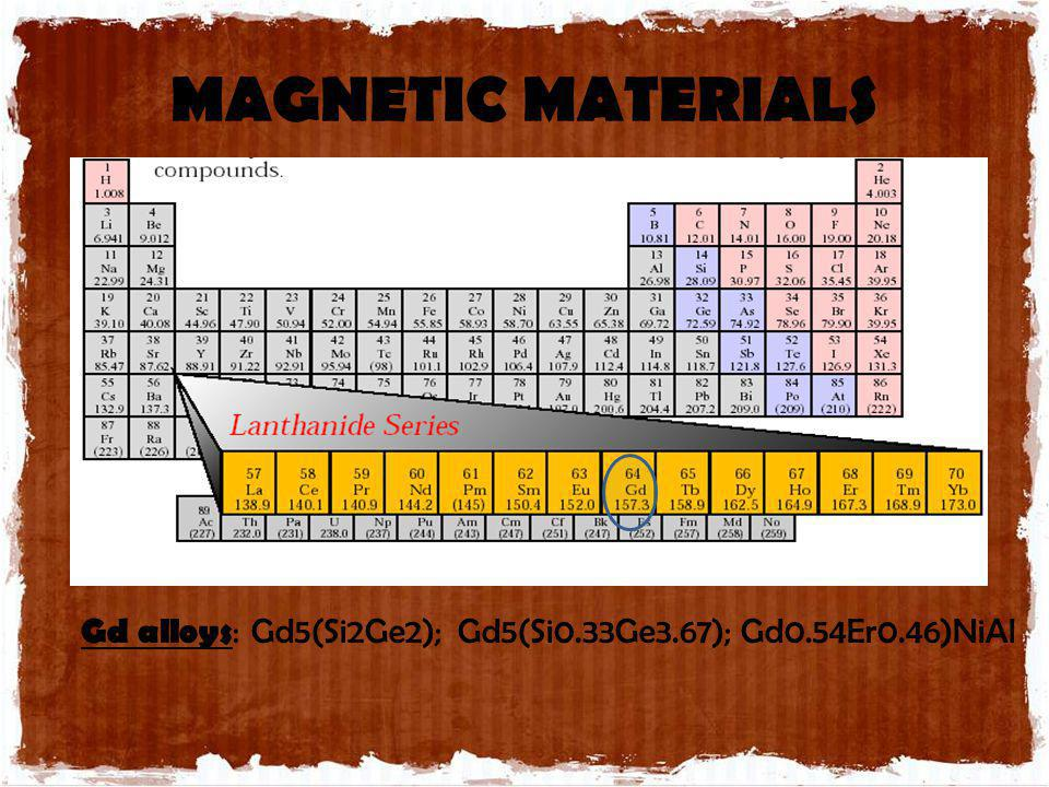 MAGNETIC MATERIALS Gd alloys: Gd5(Si2Ge2); Gd5(Si0.33Ge3.67); Gd0.54Er0.46)NiAl