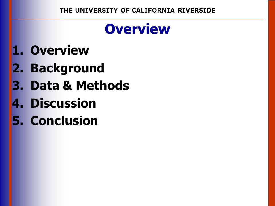 Overview Overview Background Data & Methods Discussion Conclusion