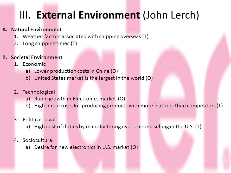 III. External Environment (John Lerch)