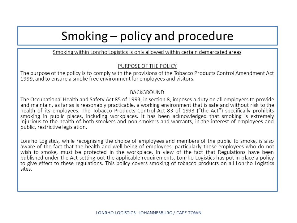 Smoking – policy and procedure
