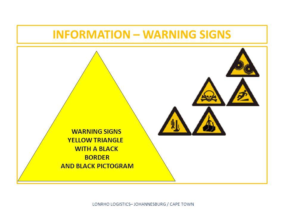 INFORMATION – WARNING SIGNS