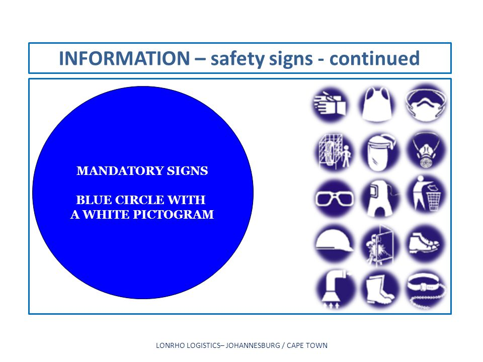INFORMATION – safety signs - continued