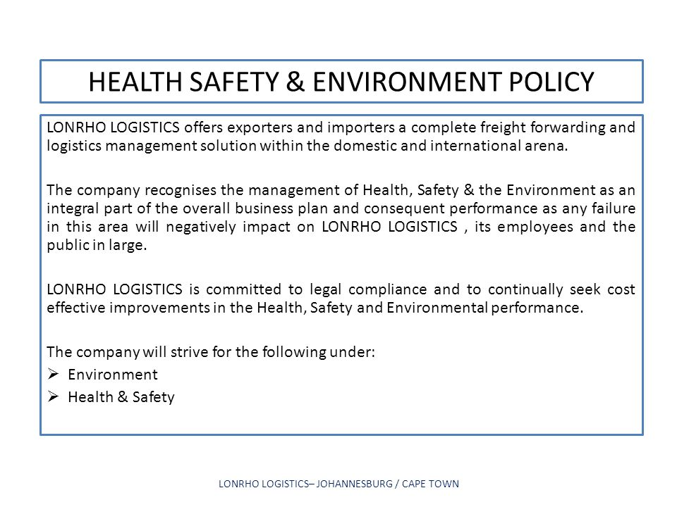 HEALTH SAFETY & ENVIRONMENT POLICY