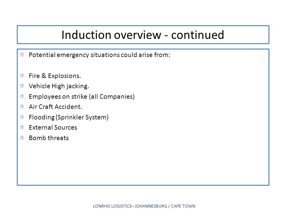 Induction overview - continued