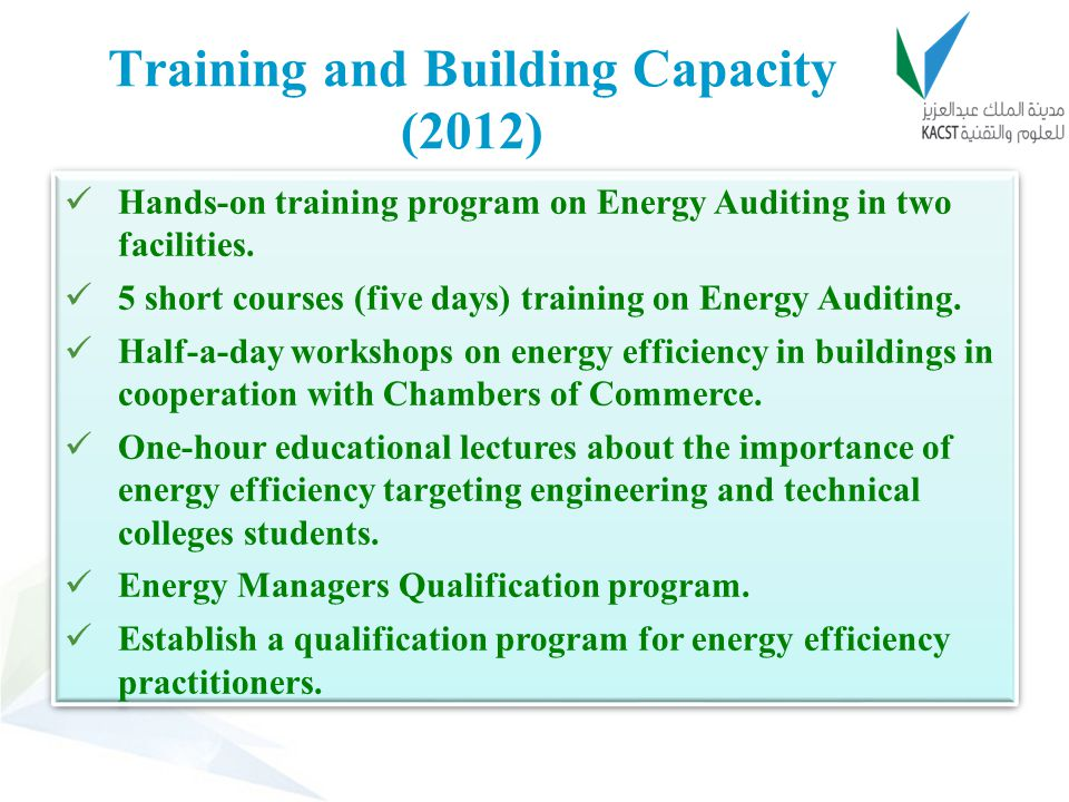 Training and Building Capacity (2012)