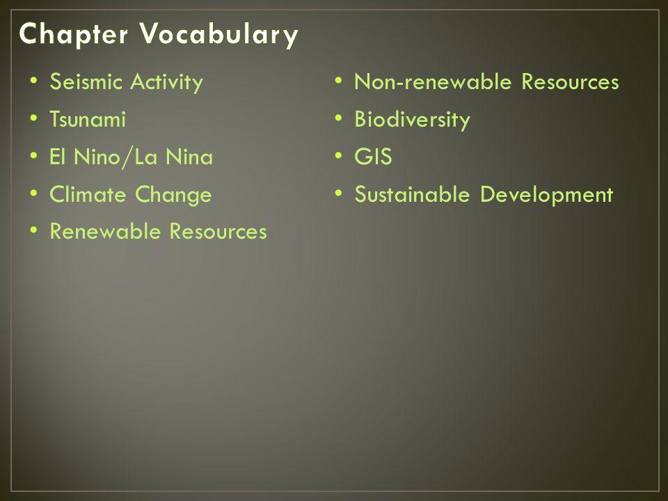 Chapter Vocabulary Seismic Activity Non-renewable Resources Tsunami