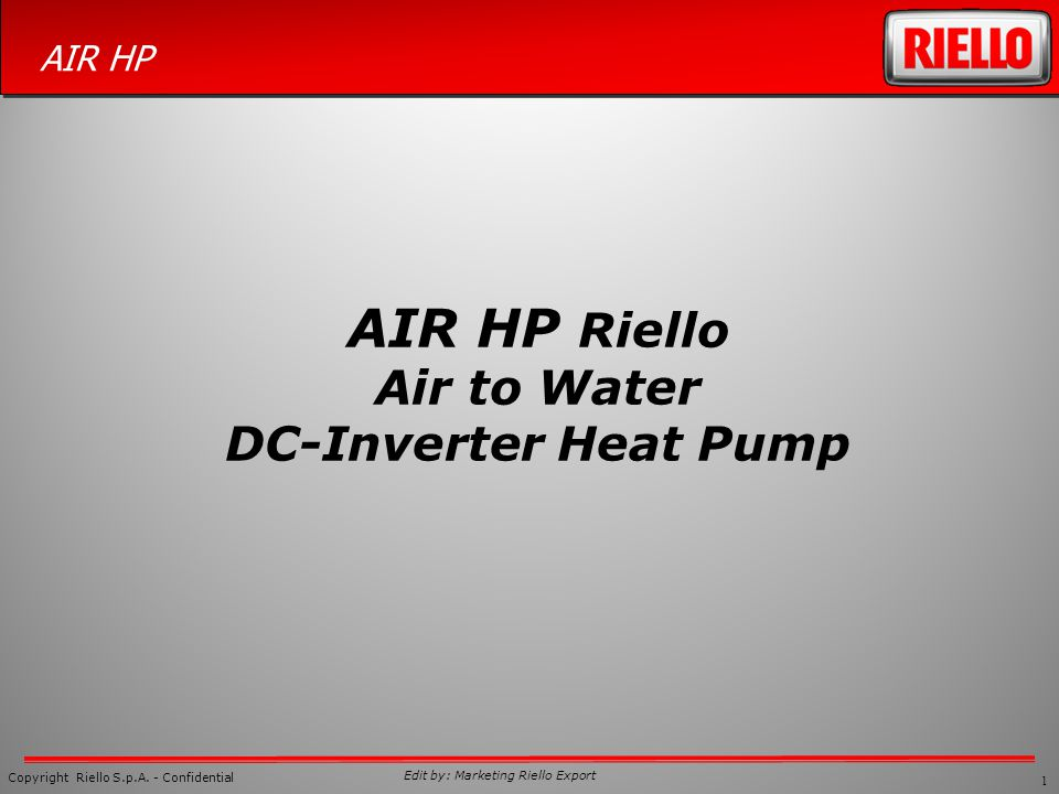 AIR HP Riello Air to Water DC-Inverter Heat Pump