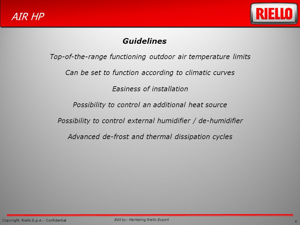 Guidelines Top-of-the-range functioning outdoor air temperature limits