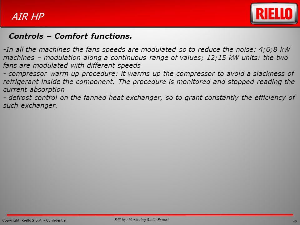 Controls – Comfort functions.