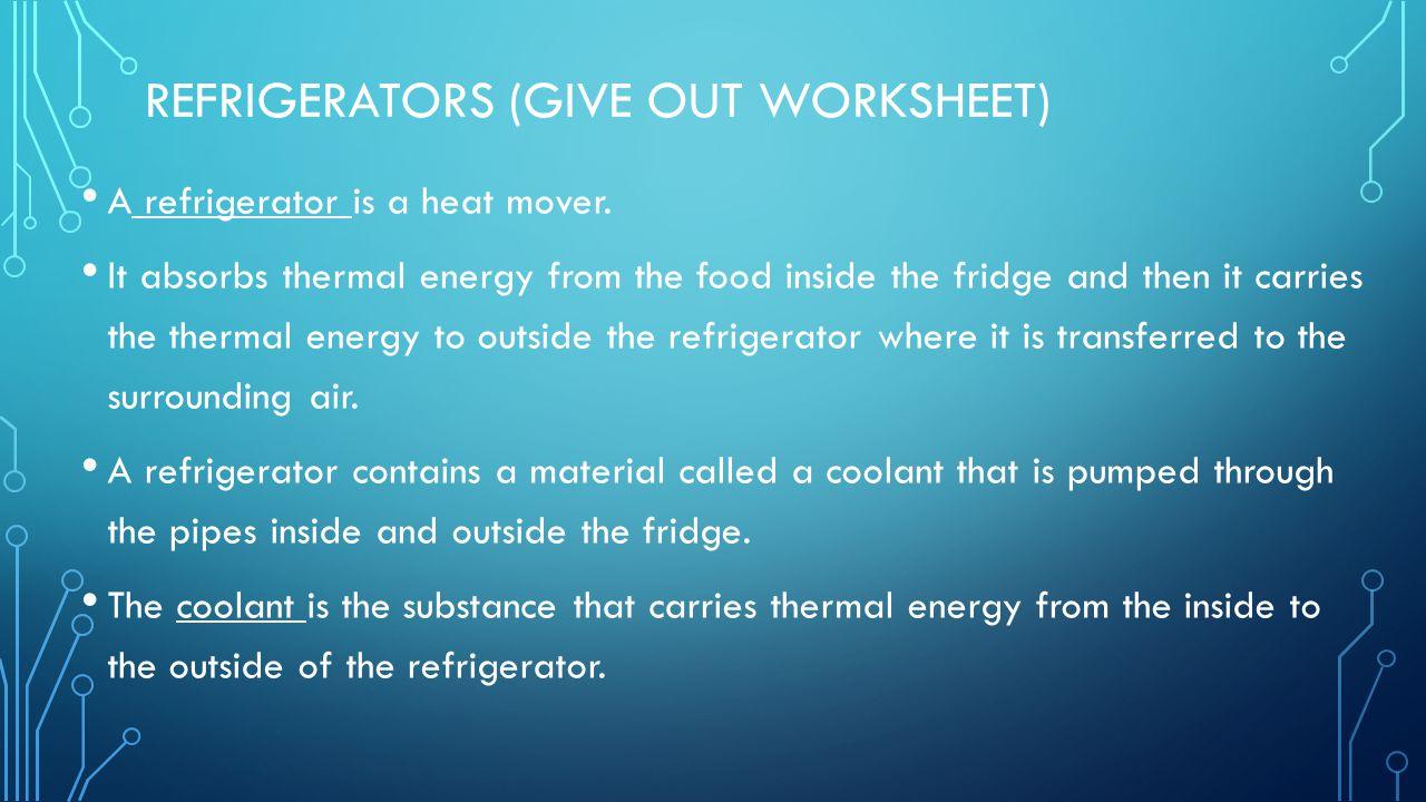 Refrigerators (Give out worksheet)
