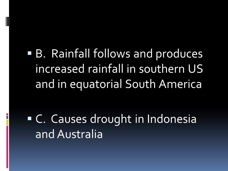 B. Rainfall follows and produces increased rainfall in southern US and in equatorial South America
