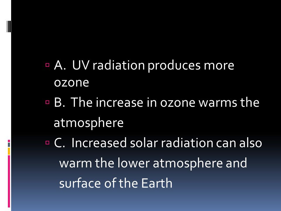 A. UV radiation produces more ozone