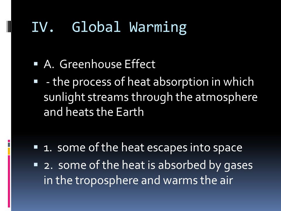 IV. Global Warming A. Greenhouse Effect