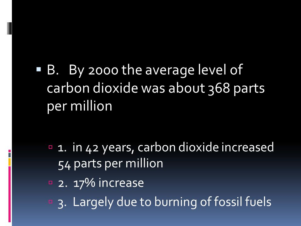 B. By 2000 the average level of carbon dioxide was about 368 parts per million