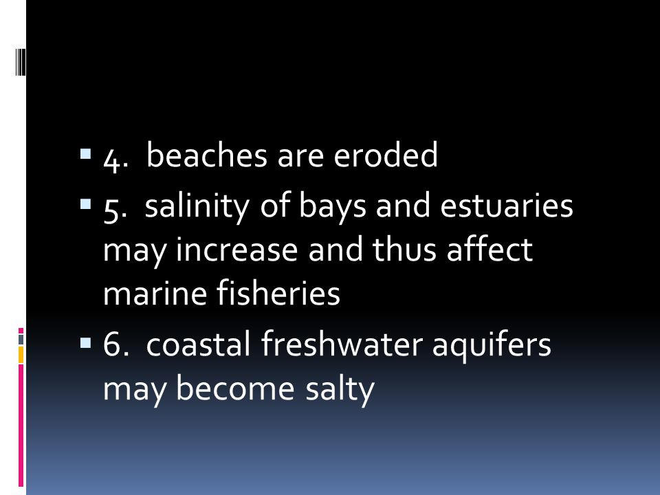 4. beaches are eroded 5. salinity of bays and estuaries may increase and thus affect marine fisheries.