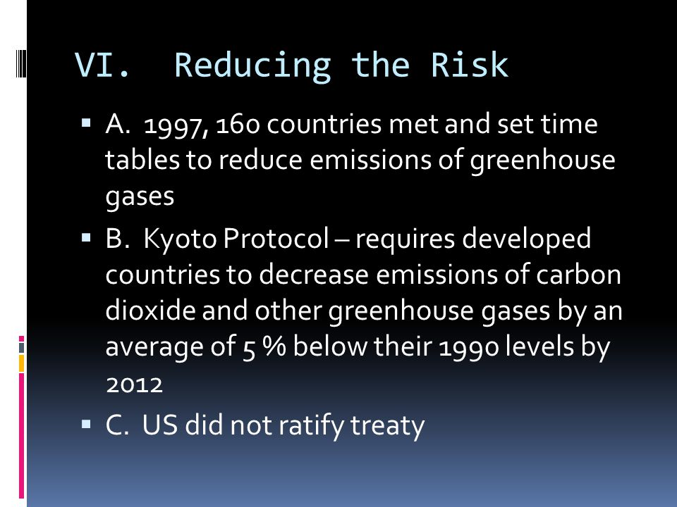 VI. Reducing the Risk A. 1997, 160 countries met and set time tables to reduce emissions of greenhouse gases.