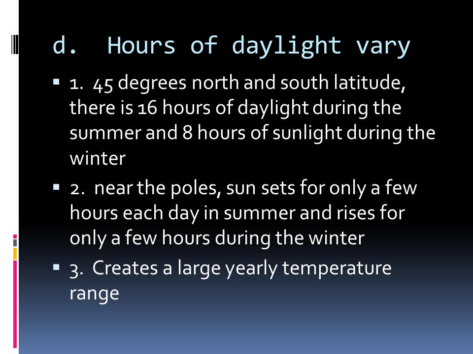 d. Hours of daylight vary