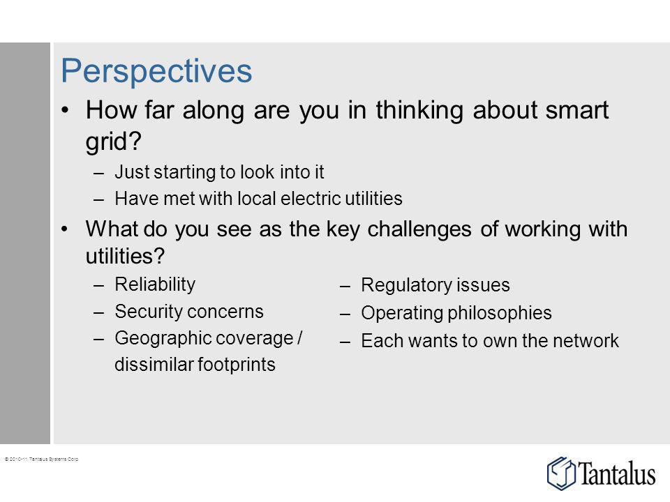Perspectives How far along are you in thinking about smart grid