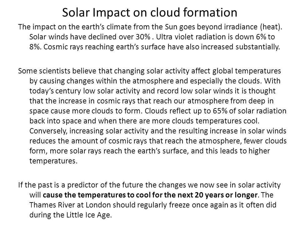 Solar Impact on cloud formation