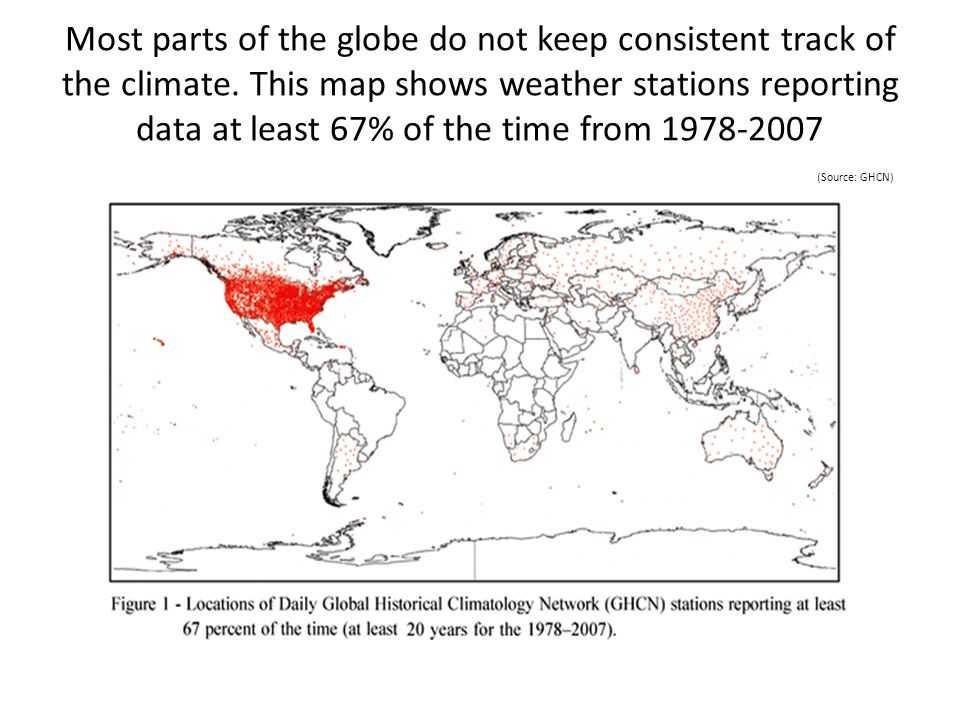 Most parts of the globe do not keep consistent track of the climate