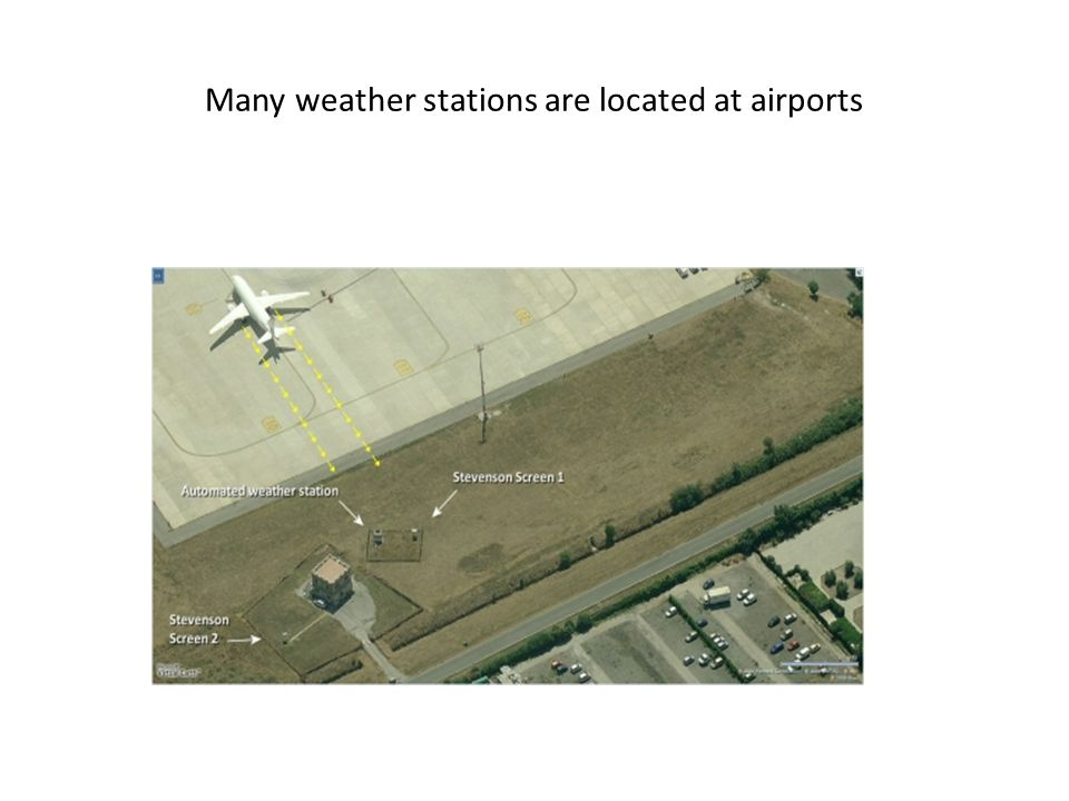 Many weather stations are located at airports